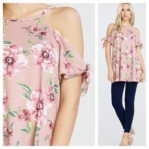 Tops - Cold shoulder floral print knot detail sleeves.